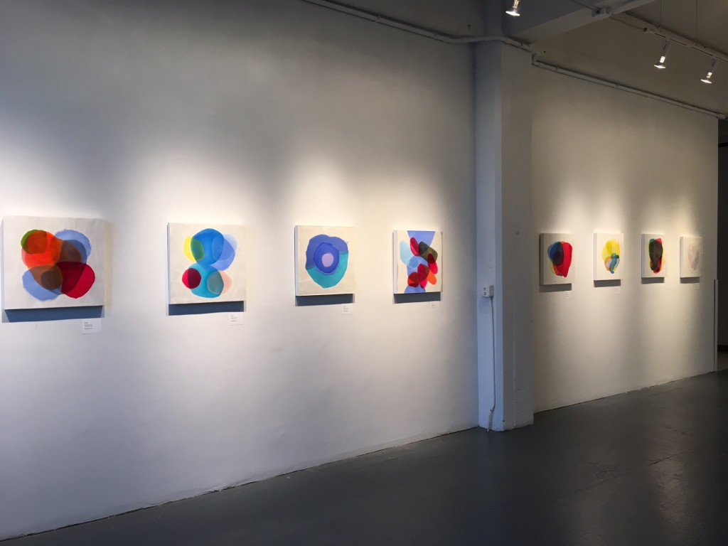 Installation view of paintings by Farida Hughes