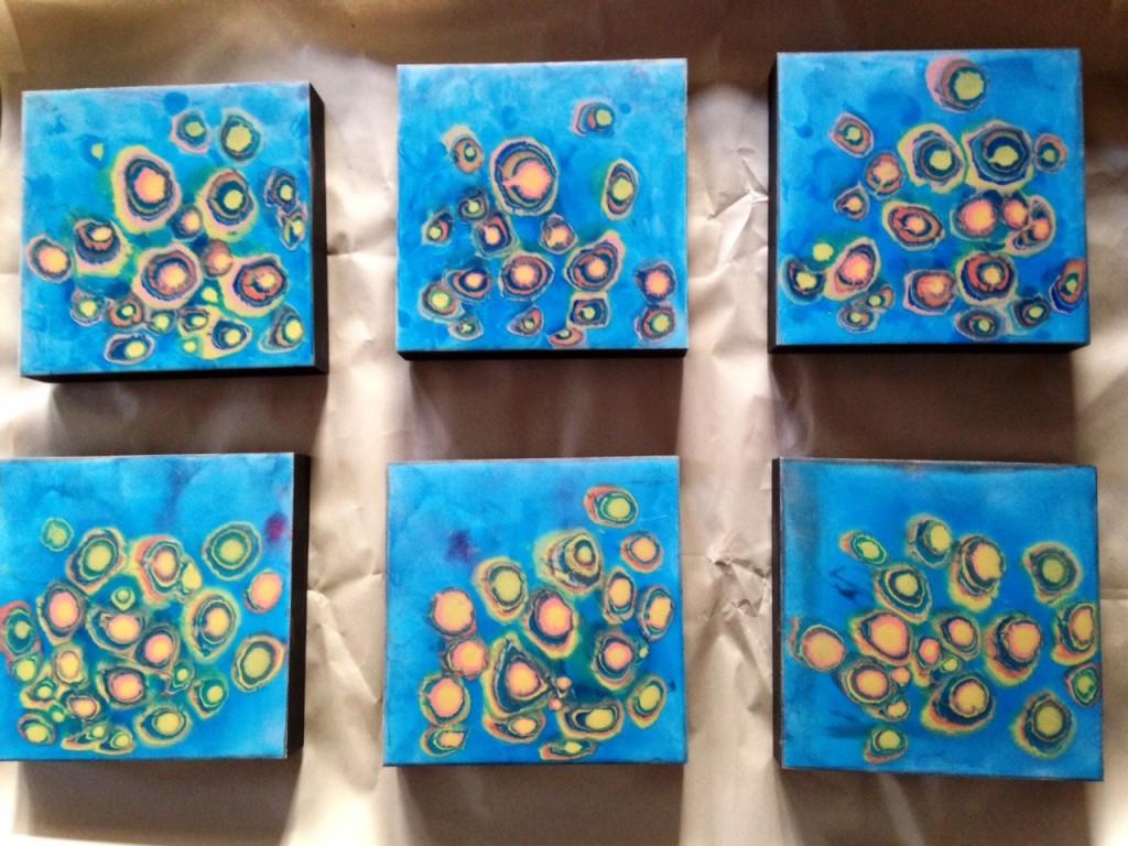 Blue paintings by Farida Hughes